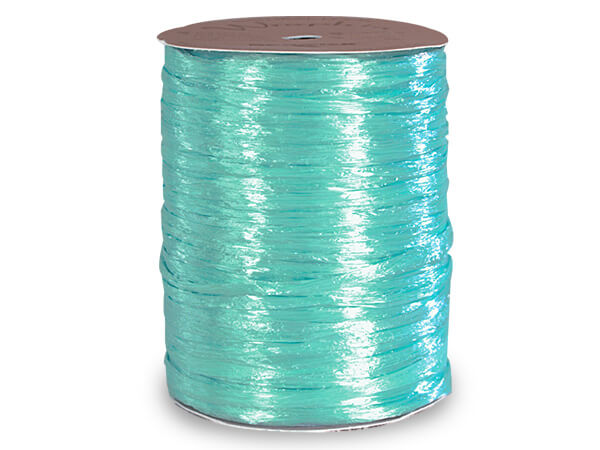 Robins Egg Pearlized Raffia Ribbon, 100 yards