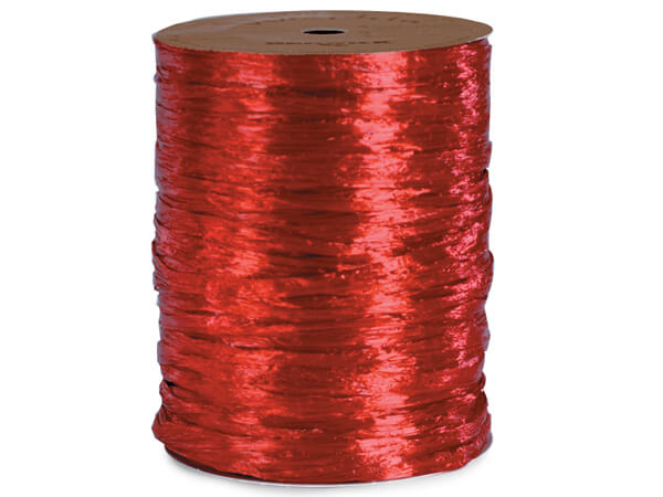 red Pearlized Raffia Ribbon