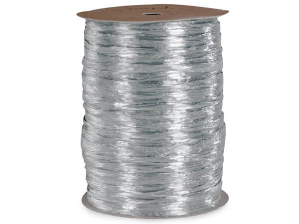 Silver Pearlized Raffia Ribbon