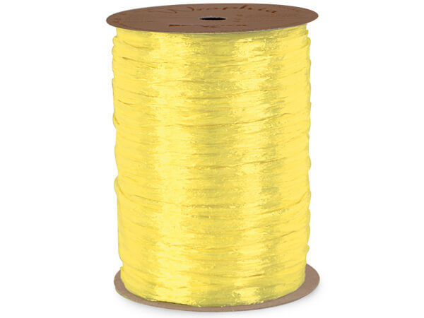 Yellow Pearlized Raffia Ribbon, 100 yards