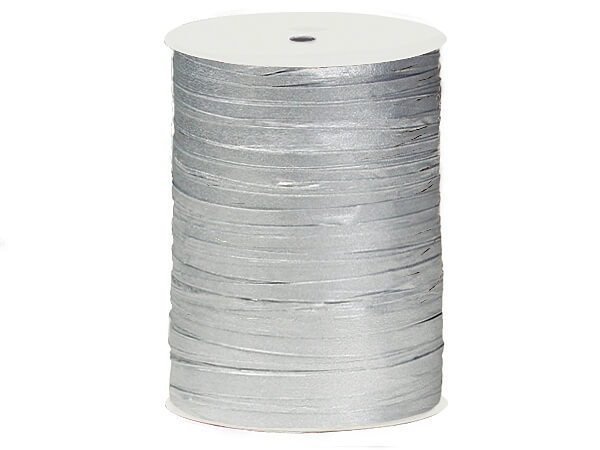 Metallic Silver Paper Raffia Ribbon, 100 yards