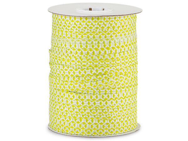 **Lime Green and White Geo Pattern Paper Raffia, 100 yards