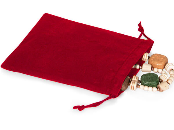 "**Red Velour Jewelry Pouches with Drawstrings, 5x7"", 25 Pack"