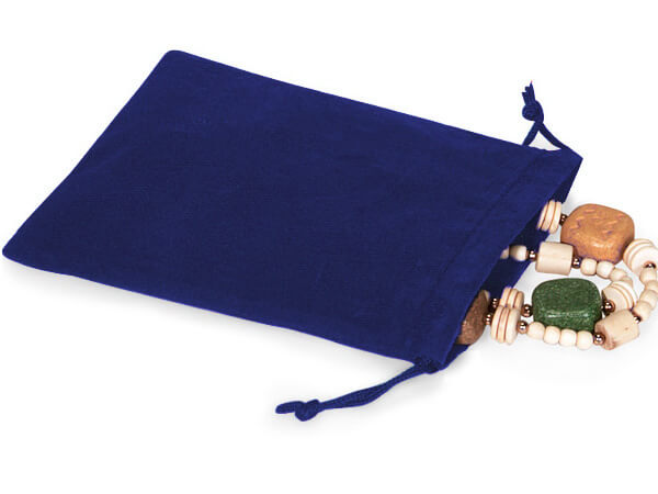 "**Blue Velour Jewelry Pouches with Drawstrings, 5x7"", 25 Pack"