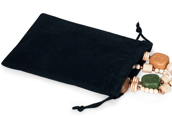 "**Black Velour Jewelry Pouches with Drawstrings, 5x7"", 25 Pack"