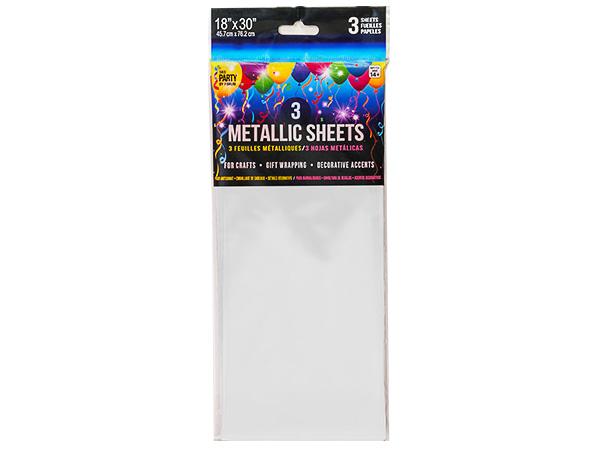 """White Metallic Tissue Cello Sheets 12 bags - 3 sheets 18x30"""""""
