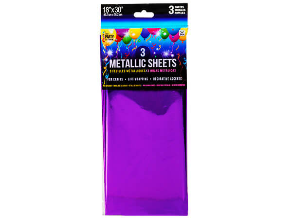 "*Purple Metallic Cello Tissue, 18x30"", 12 resale bags, 3 sheets ea"