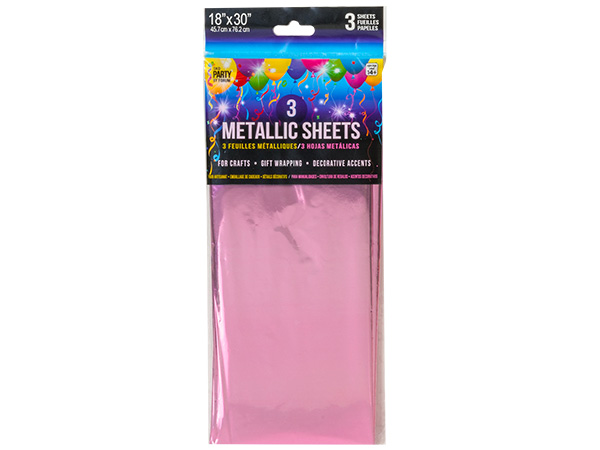 "**Petal Pink Metallic Cello Tissue, 18x30"", 12 resale bags, 3 sheets e"