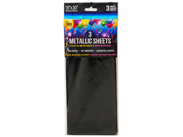 "**Black Metallic Cello Tissue, 18x30"", 12 resale bags, 3 sheets ea"