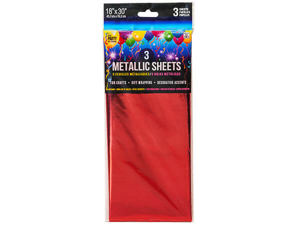 "**Red Metallic Cello Tissue, 18x30"", 12 resale bags, 3 sheets ea"