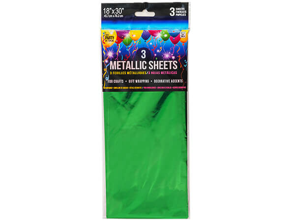 "Emerald Metallic Cello Tissue, 18x30"", 12 resale bags, 3 sheets ea"