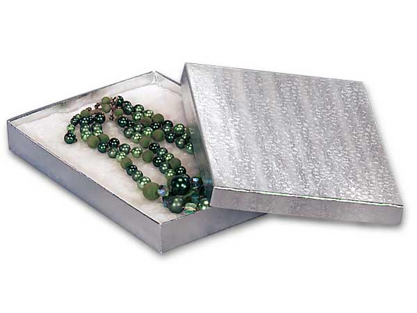 """7x5x7/8"""" Silver Embossed Foil Jewelry Box with Cotton Filler"""