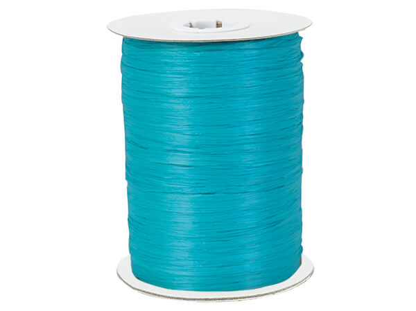 Aqua Paper Raffia Ribbon, 100 yards