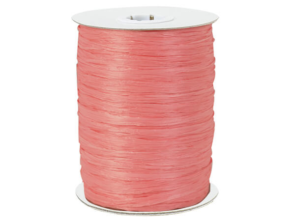 Coral Paper Raffia Ribbon, 100 yards
