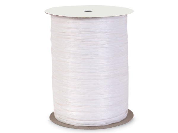 White Paper Raffia Ribbon, 100 yards