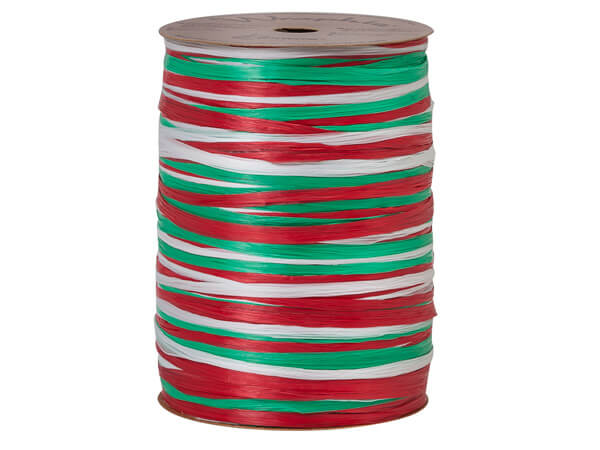Red, White and Kelly Green Matte 3-in-1 Raffia, 300 yards