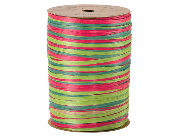 Raspberry, Green and Celadon Matte 3-in-1 Raffia, 300 yards