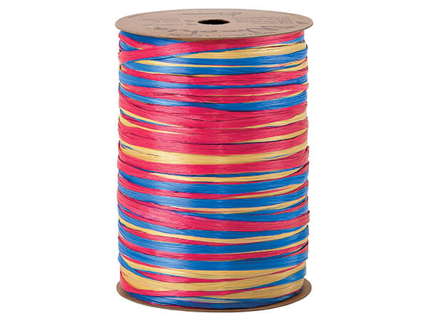 *Red, Daffodil and Royal Blue Raffi Matte 3-in-1 Raffia, 300 yards