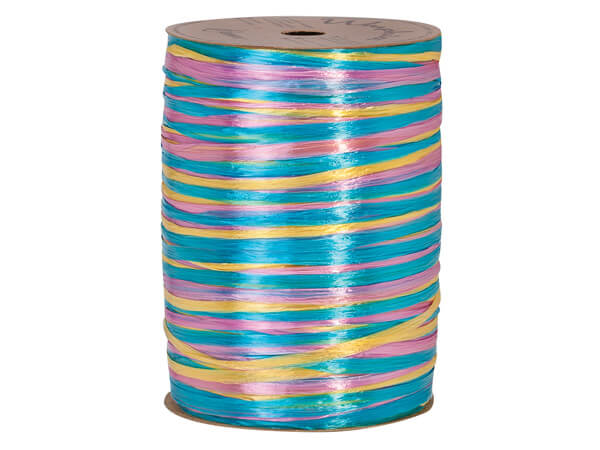 Aqua, Azalea and Daffodil Pearlized 3-in-1 Raffia, 300 yards