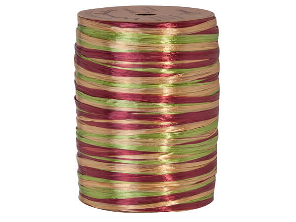 Burgundy, Gold and Jungle Green Pearlized 3-in-1 Raffia, 300 yards
