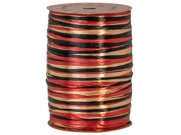 *Black, Gold, & Red Pearlized ~ 3-in-1 Raffia ~ 300 yds