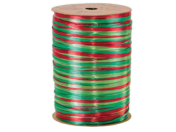 Red, Green and Citrus Pearlized 3-in-1 Raffia, 300 yards