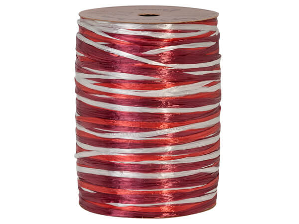 Red, White and Burgundy Pearlized 3-in-1 Raffia, 300 yards