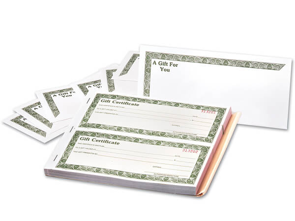 "3 Part Gift Certificate & Envelope, 8-1/2""x 3-1/2"", 100 pack"