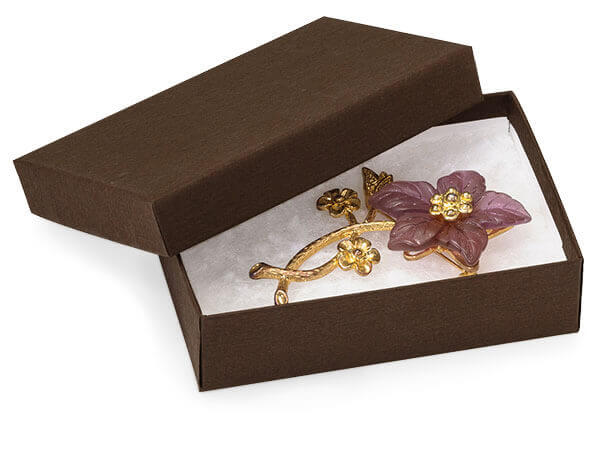 "*Chocolate Embossed Jewelry Boxes, 3.75x2.5x1"", 6 Pack, Fiber Fill"