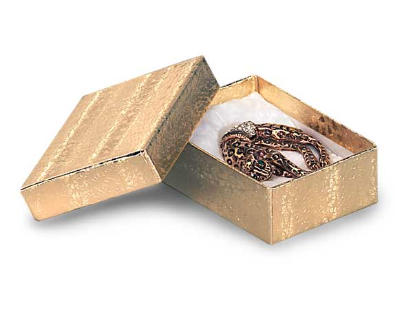 "Gold Embossed Foil Jewelry Boxes, 3.75x2.5x1"", 100 Pack, Cotton Fill"