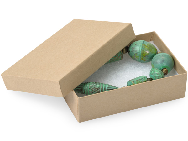 """Brown Kraft Jewelry Gift Boxes, 3.75x2.5x1"""", 100 Pack, Cotton Fill"""