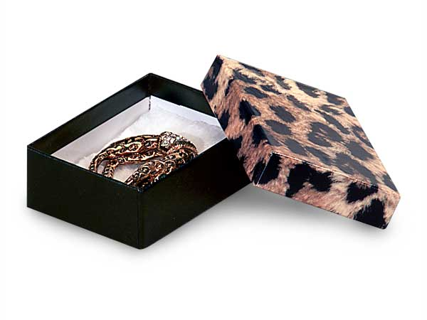 """Leopard Print Jewelry Gift Boxes, 3.75x2.5x1"""", 100 Pack, Cotton Fill"""