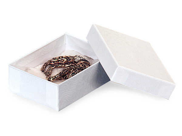 "White Embossed Swirl Jewelry Boxes, 3.75x2.5x1"", 100 Pack, Cotton Fill"
