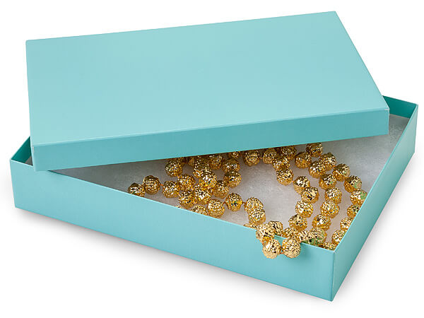 "Aqua Blue Jewelry Gift Boxes, 7x5x1.25"", 100 Pack, Cotton Fill"