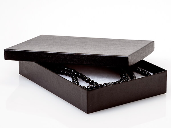 """Black Embossed Jewelry Gift Boxes, 7x5x1.25"""", 100 Pack, Cotton Fill"""