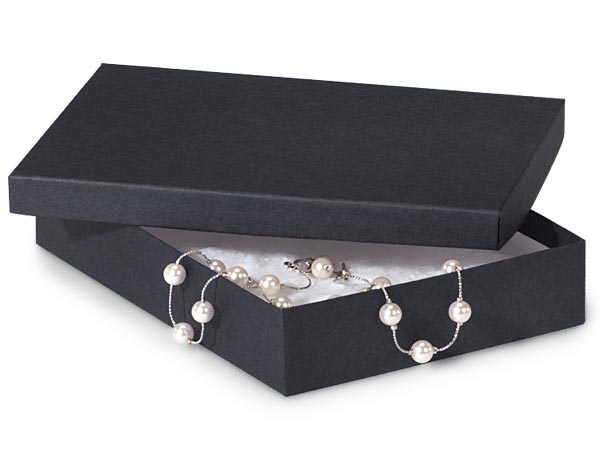 """Black Matte Jewelry Gift Boxes, 7x5x1.25"""", 100 Pack, Cotton Fill"""
