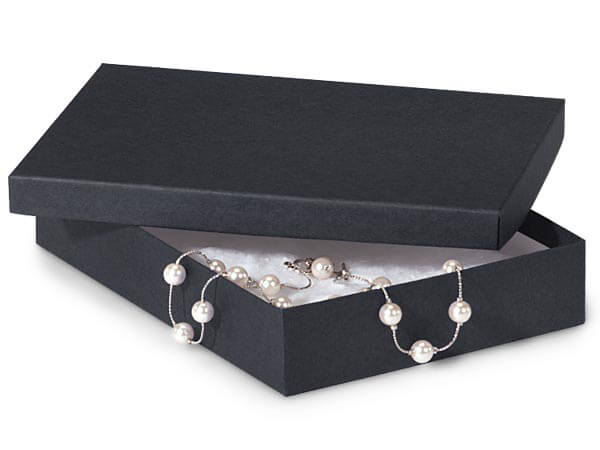 "Black Matte Jewelry Gift Boxes, 7x5x1.25"", 6 Pack, Fiber Fill"