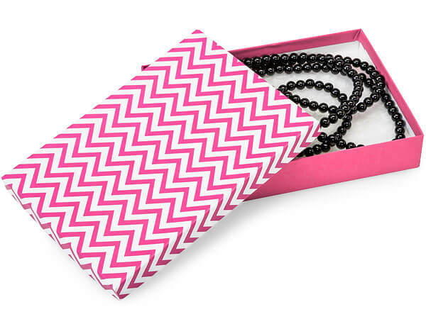 "Calypso Pink Chevron Jewelry Boxes, 7x5x1.25"", 100 Pack, Cotton Fill"
