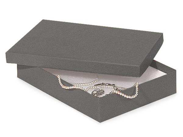 "Charcoal Gray Jewelry Gift Boxes, 7x5x1.25"", 100 Pack, Fiber Fill"