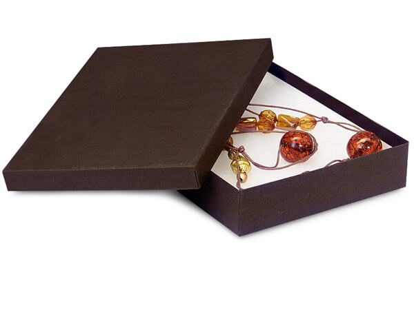 """Chocolate Embossed Jewelry Boxes, 7x5x1.25"""", 100 Pack, Cotton Fill"""