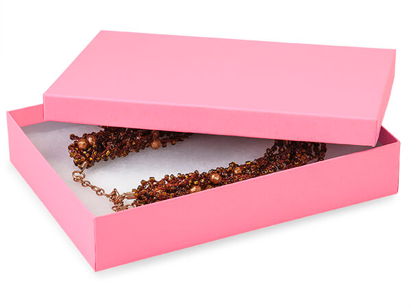 "Calypso Pink Jewelry Gift Boxes, 7x5x1.25"", 100 Pack, Cotton Fill"