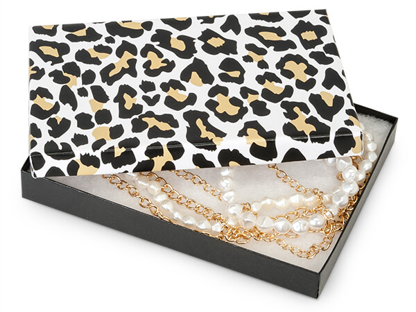 """Golden Leopard Jewelry Gift Boxes, 7x5x1.25"""", 100 Pack, Fiber Fill"""