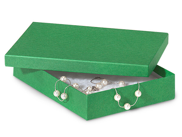 """Green Kraft Jewelry Gift Boxes, 7x5x1.25"""", 100 Pack, Cotton Fill"""