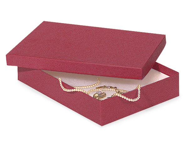 "Merlot Jewelry Gift Boxes, 7x5x1.25"", 100 Pack, Cotton Fill"