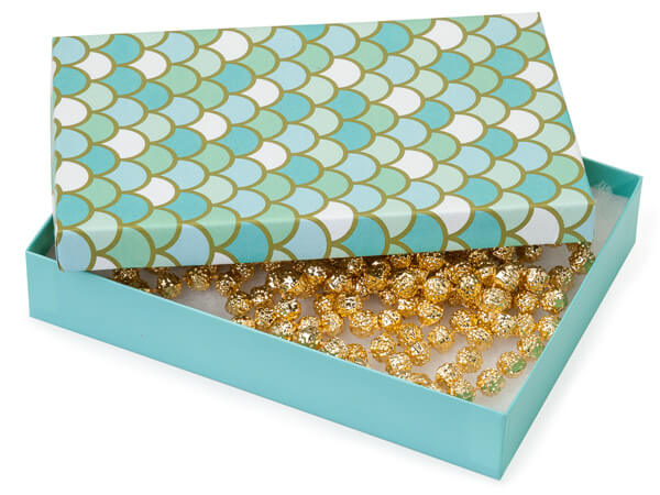 "Mermaids Paradise Jewelry Gift Box, 7x5x1.25"", 100 Pack, Cotton Fill"