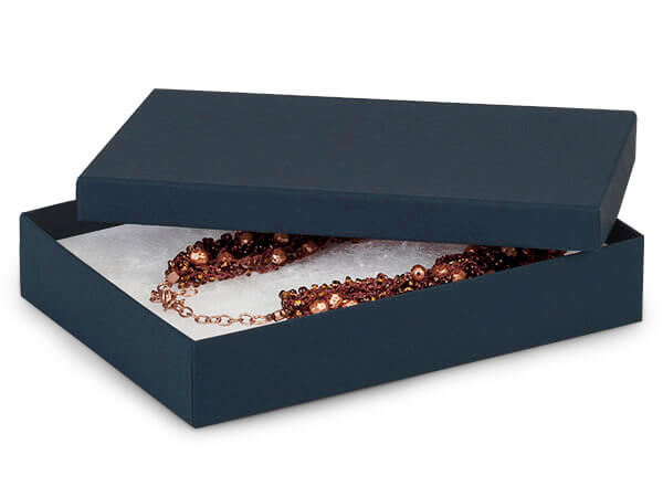 """Navy Blue Jewelry Gift Boxes, 7x5x1.25"""", 100 Pack, Fiber Fill"""