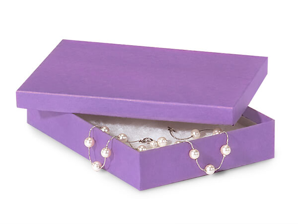"Purple Kraft Jewelry Gift Boxes, 7x5x1.25"", 100 Pack, Fiber Fill"