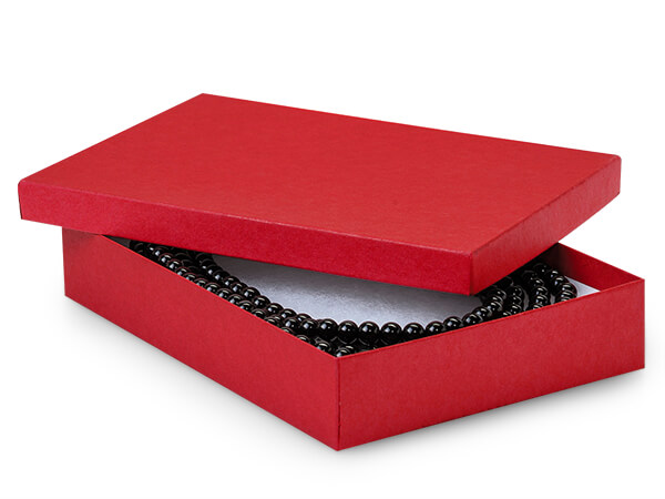"Red Matte Kraft Jewelry Gift Boxes, 7x5x1.25"", 100 Pack, Cotton Fill"