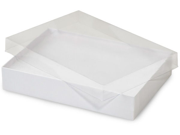 "Clear Lid White Base Jewelry Boxes, 7x5x1.25"", 100 Pack, Cotton Fill"