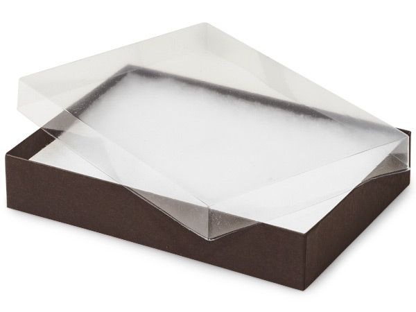 "Clear Lid Chocolate Base Gift Box, 7x5x1.25"", 100 Pack, Fiber Fill"